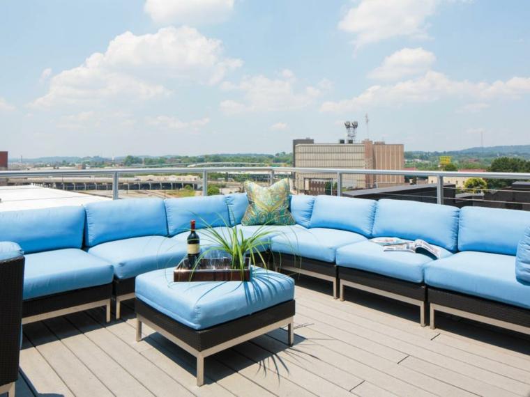decorar terrazas urbanas soluciones azules soluciones madera