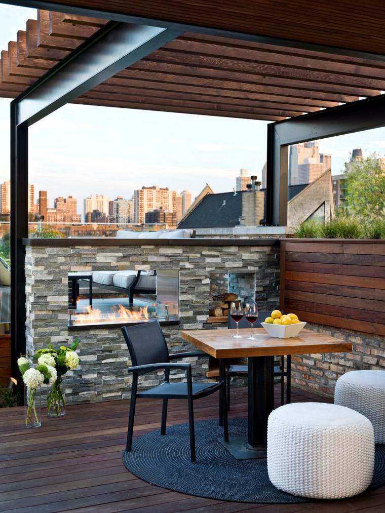decorar terrazas urbanas soluciones chimeneas diseño