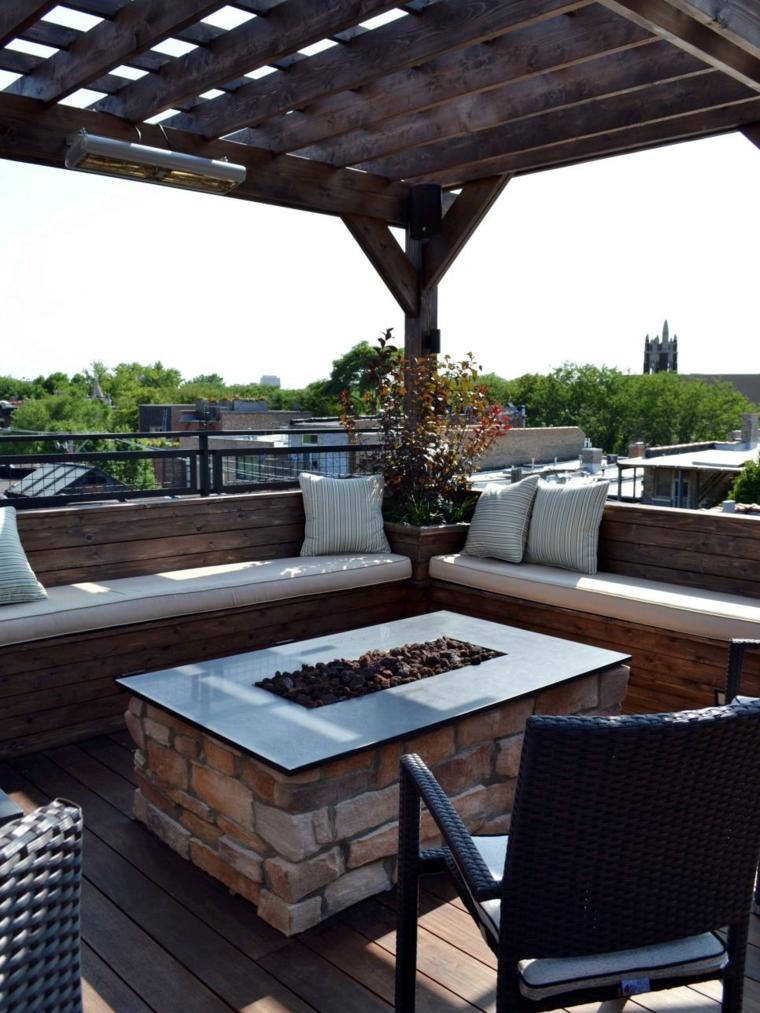 decorar terrazas urbanas soluciones mesas vistas rocas