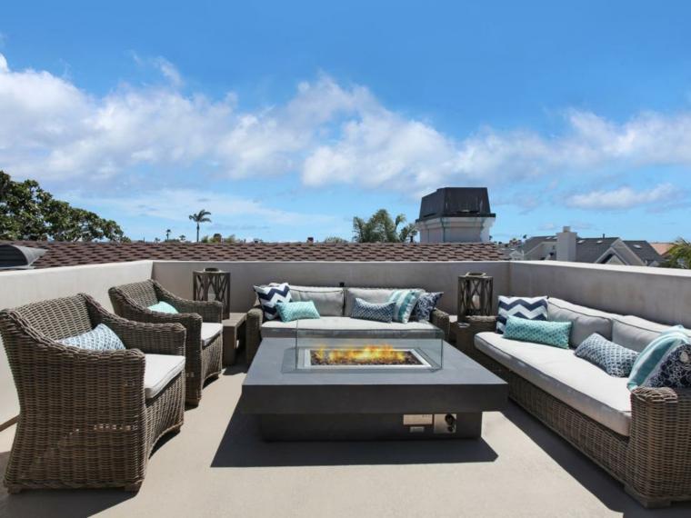 decorar terrazas urbanas soluciones mobiliario fuego