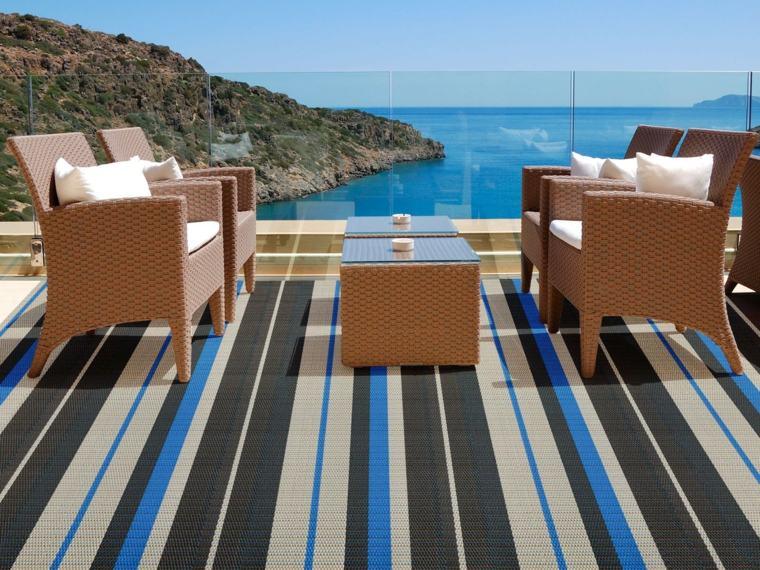 diseño alfombra rayas azules