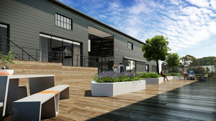 design modern wooden garden benches