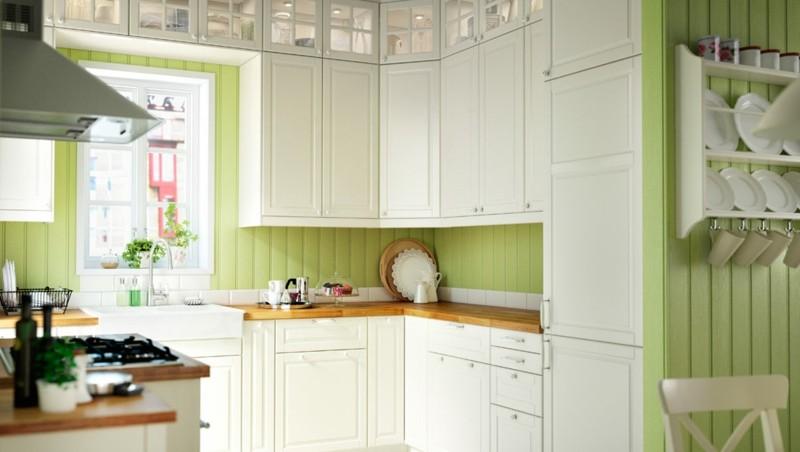 diseño cocina colores blanco verde