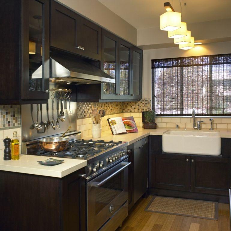 Cocinas peque as en forma de l cincuenta dise os for Muebles de cocina negro