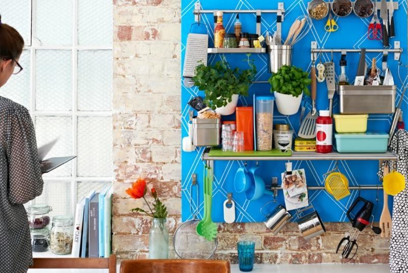 diseño cocina panel color azul