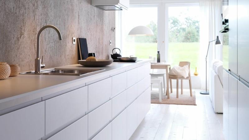 diseño cocina moderna pared cemento