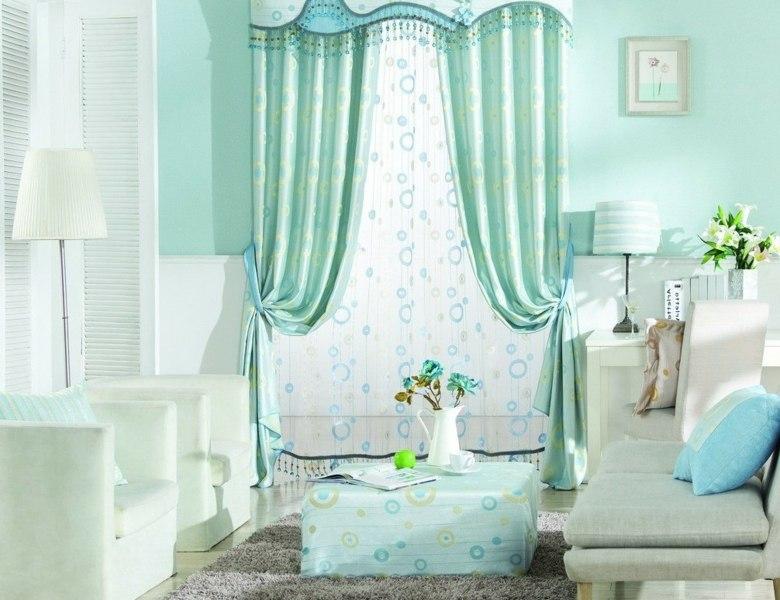 diseño cortinas color aguamarina sala