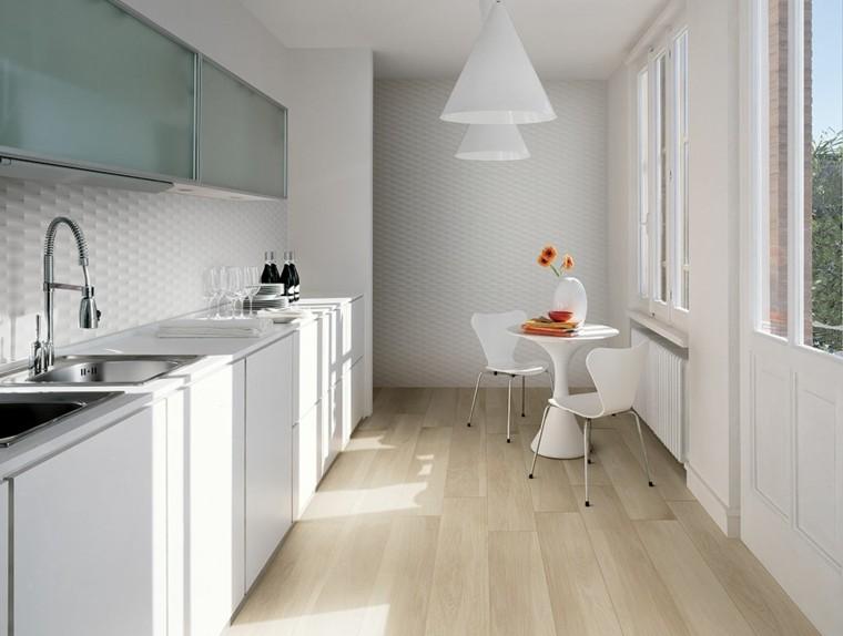 diseño de cocinas blancas estrechas largas ideas