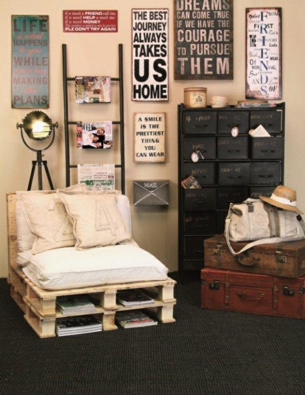 Artesania con palets cien ideas para amueblar reciclando for Decoracion de interiores madera