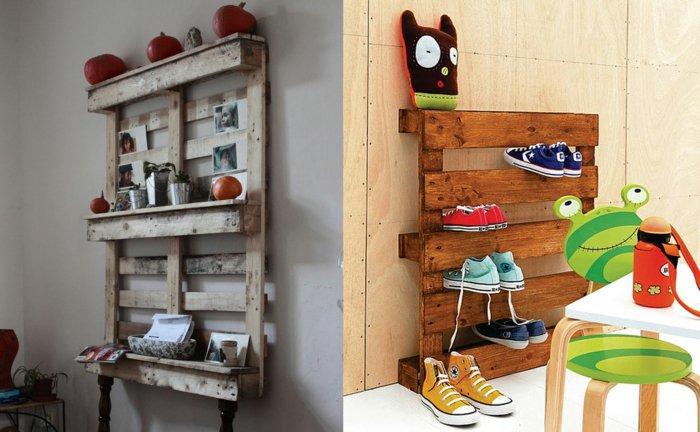 estantes pallet zapateros madera