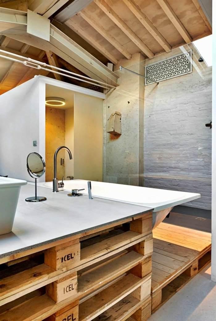 cuarto baño pallet madera