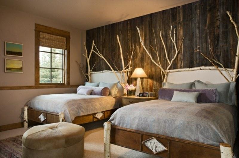 Decoracion de dormitorios rusticos madera y piedra - Dormitorios con dos camas ...