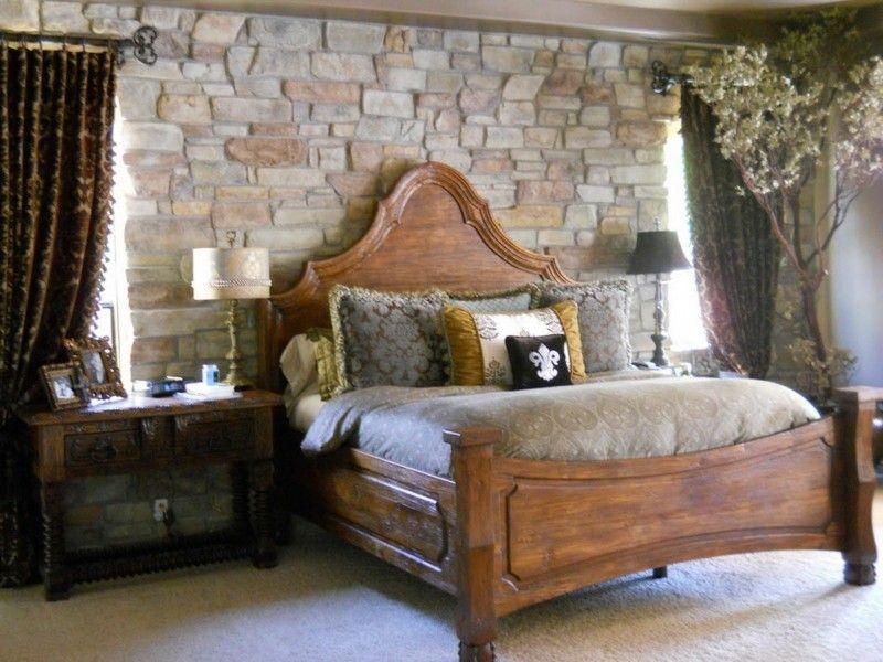 diseño habitación pared piedra