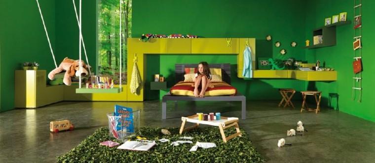 diseño habitacion infantil color verde
