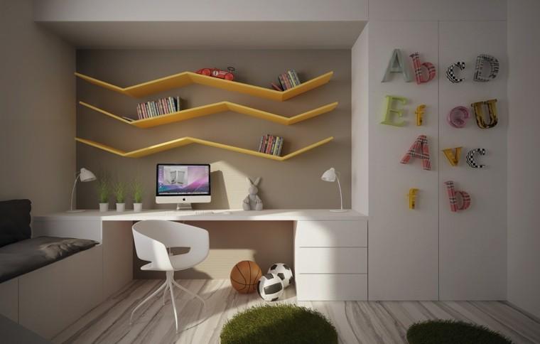 diseño habitacion juvenil estantes amarillos