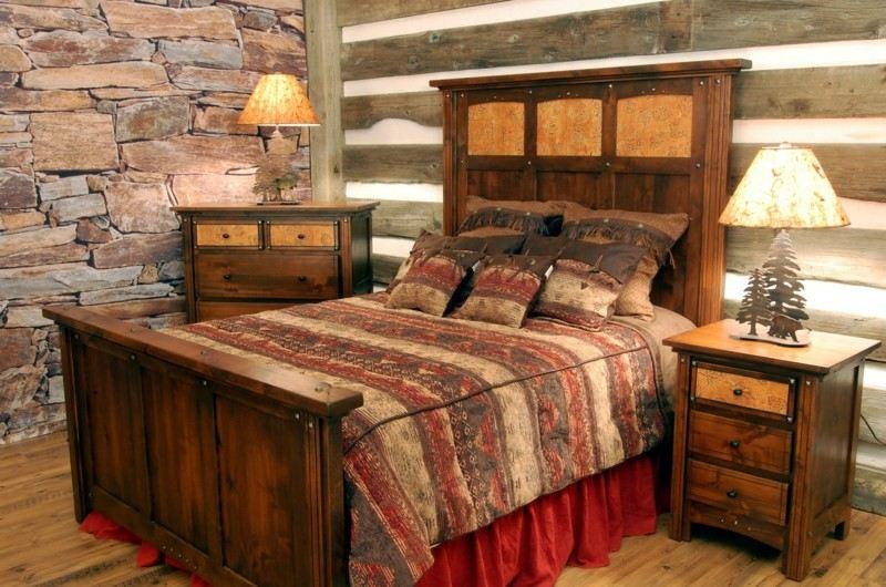 diseño habitación madera piedra