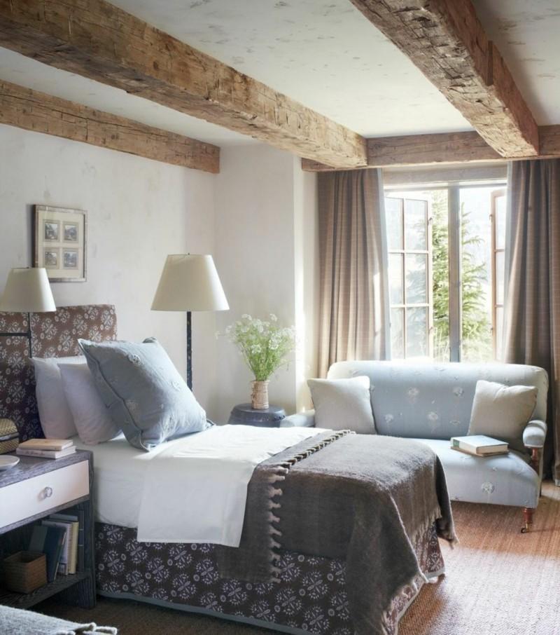 Decoracion de dormitorios rusticos madera y piedra - Decoracion con vigas de madera ...