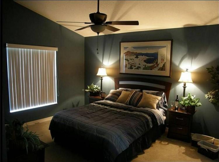 diseño habitacion pared color añil