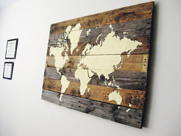 diseño mapa madera deco pared