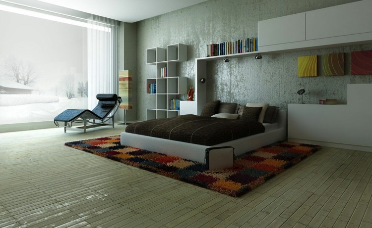 diseño moderno habitación pared cemento