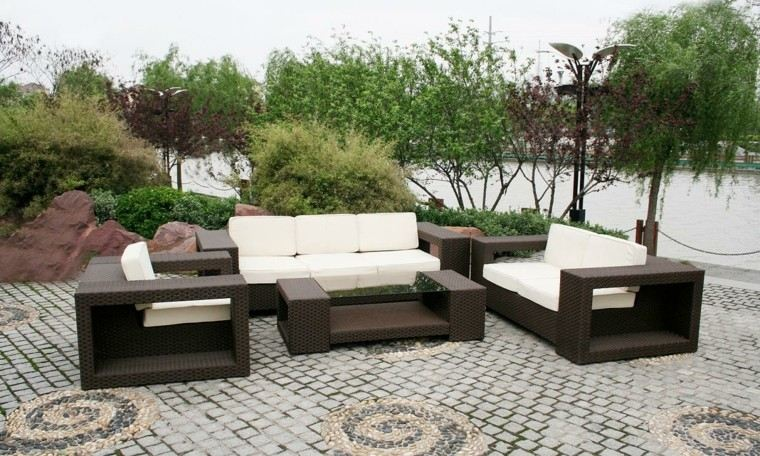diseño muebles terraza mimbre marrñon