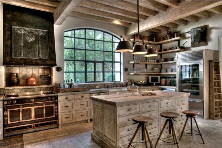 diseño original cocina moderna rustuica
