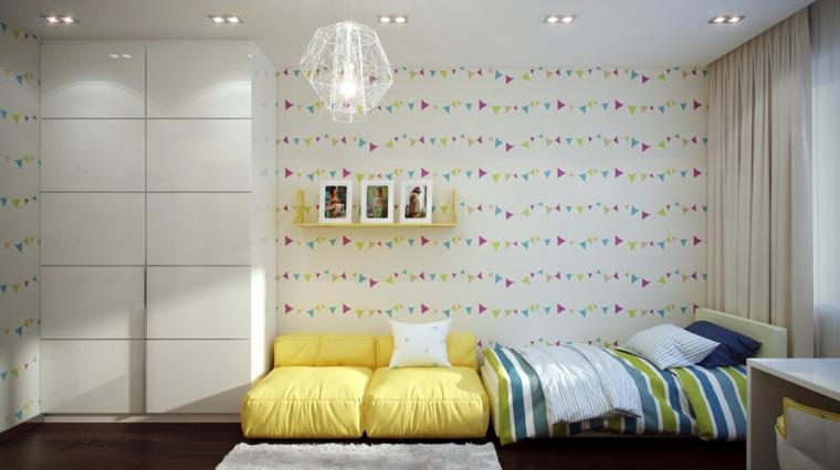 diseño dormitorio paredes modernas deco
