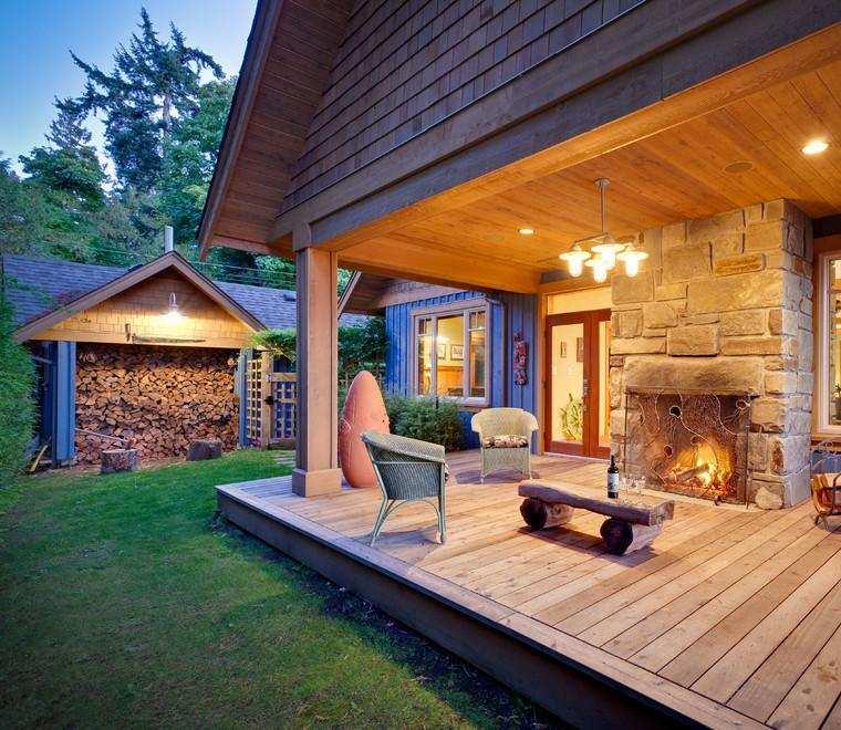 casa campo porche madera