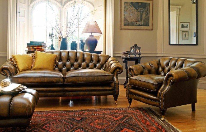 diseño sofás Chester marrones
