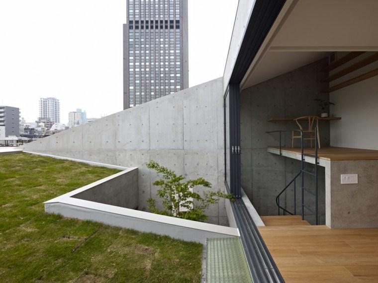 diseño terraza deco cesped moderna