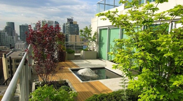 diseño terraza estanque agua moderno