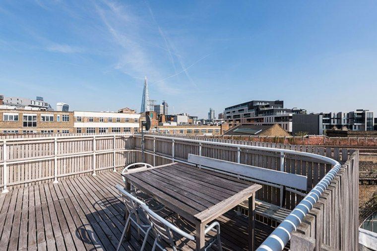 diseño terraza moderna madera banco