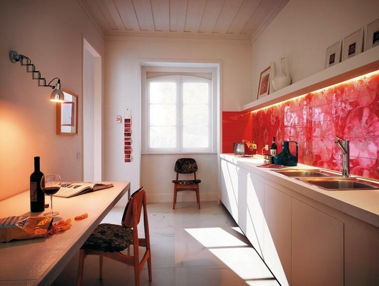 diseno cocinas losas rojas pared ideas
