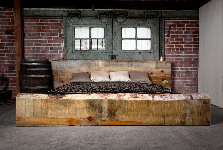decoracion industrial cama madera paredes ladrillo ideas