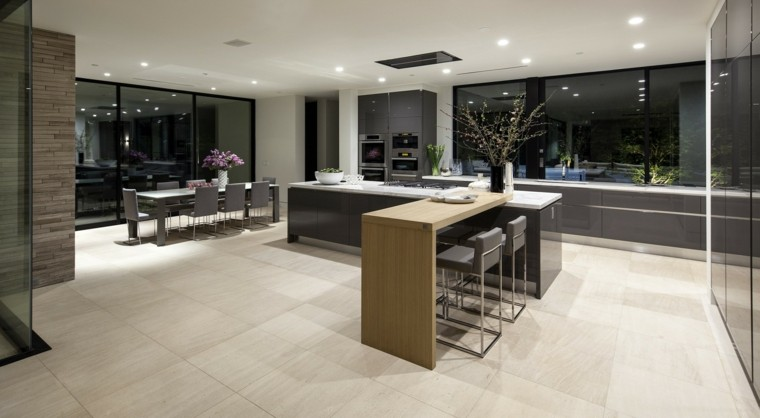 diseños de cocinas abiertas comedores ideas