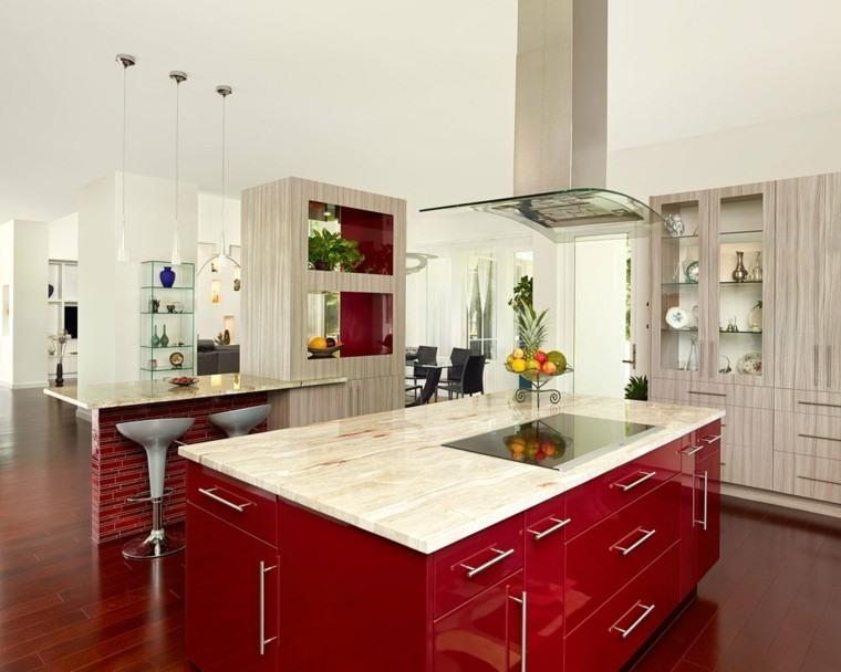 Cocinas color rojo diseno de cocina en color rojo alto for Cocinas color granate