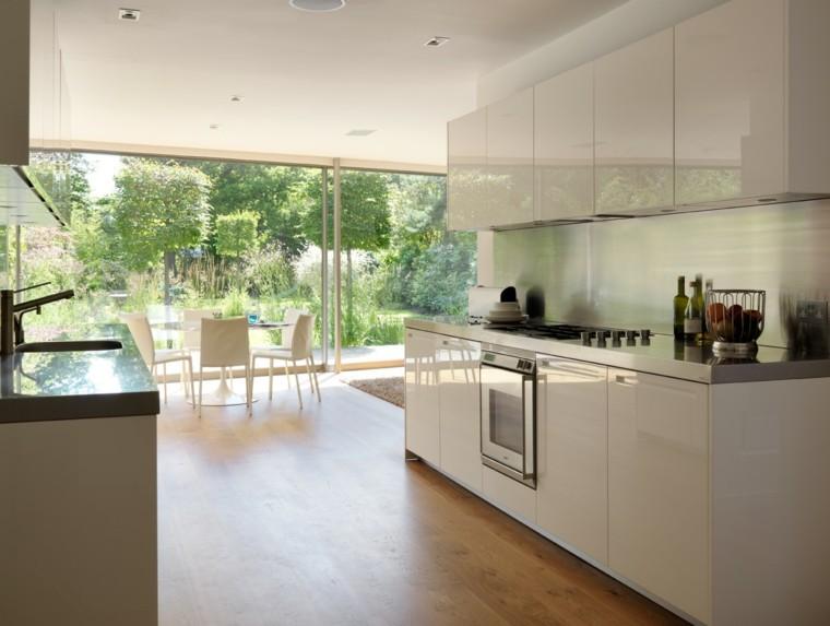 diseños de cocinas mesa sillas comedor blancas ideas