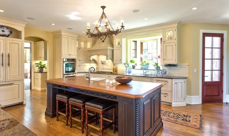 diseños de cocinas muebles blancos isla negra preciosa ideas