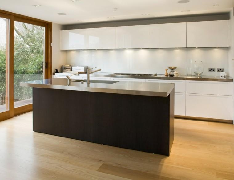 diseños de cocinas muebles blancos isla ideas