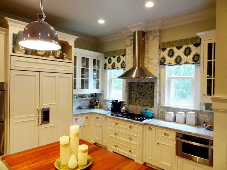 diseños de cocinas muebles blancos velas ideas