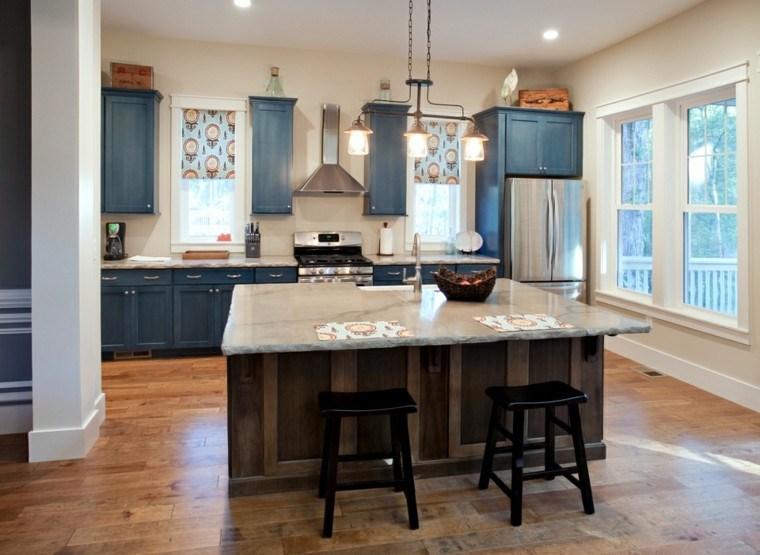 diseno cocinas muebles color azul ideas