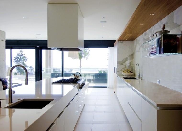 diseños cocinas paredes marmol estante cristal ideas