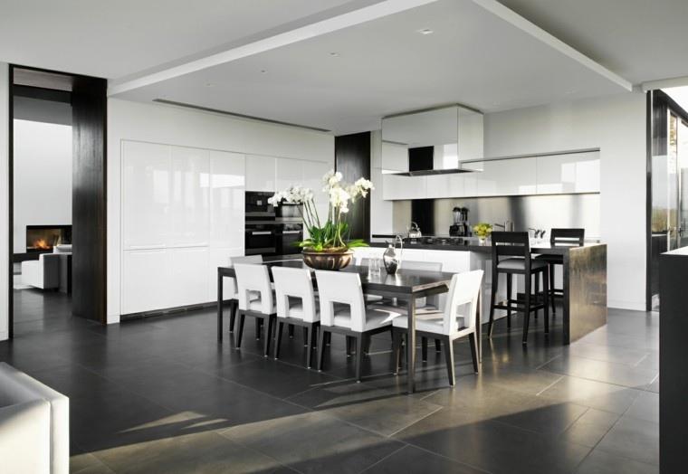 diseños de cocinas planta decorando mesa salon ideas