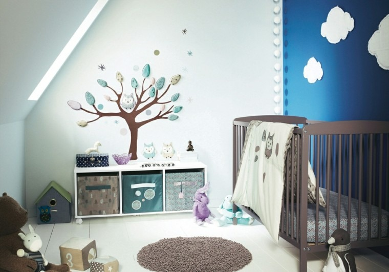 dormitorio bebe pared color azul