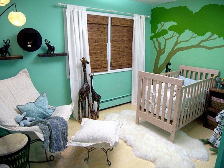 dormitorio bebe estilo safari aguamarina