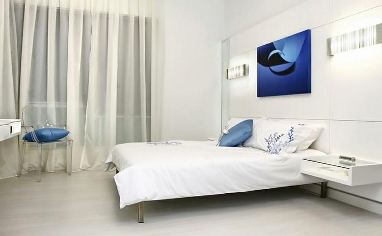 dormitorio moerno blanco azul