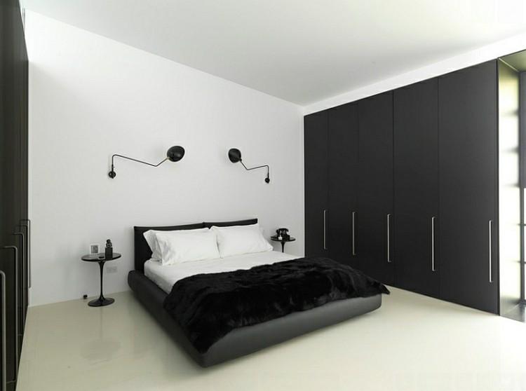 dormitorio diseño blanco negro