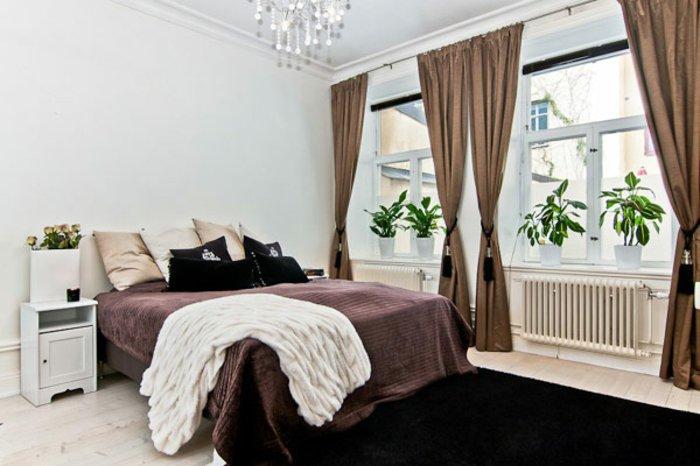 dormitorio diseño cortinas plantas blanco