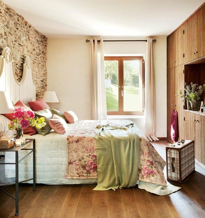 dormitorio diseño detalles cortinas colores vintage