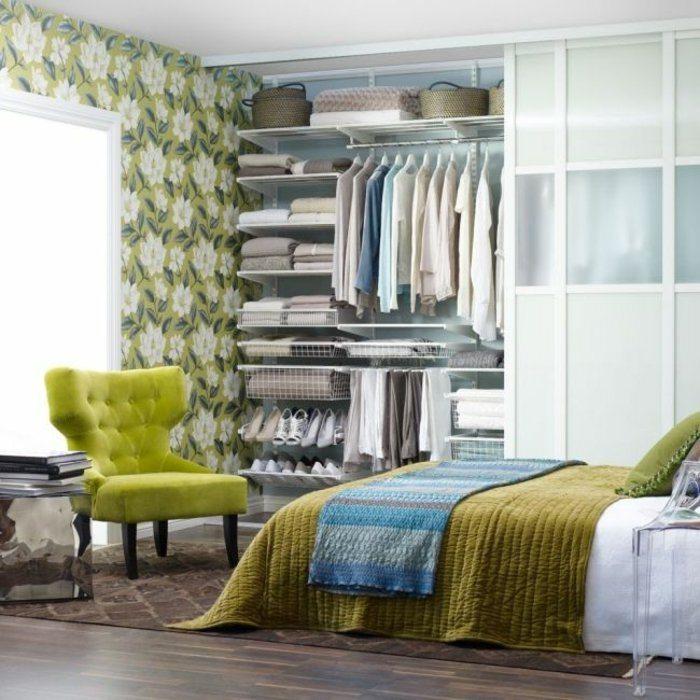 dormitorio diseño detalles flores cestas amarillo